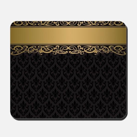 Golden Stripe Vintage Damask Mousepad