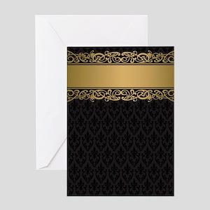 Golden Stripe Vintage Damask Greeting Card