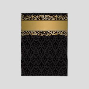 Golden Stripe Vintage Damask 5'x7'Area Rug
