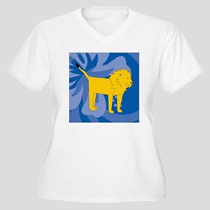 Lion Cloth Napkin Women's Plus Size V-Neck T-Shirt