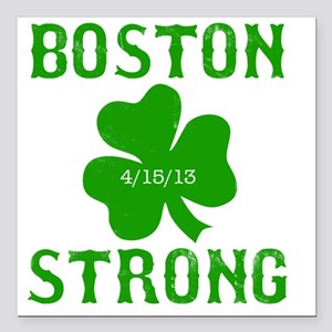 "Boston Strong - Green Square Car Magnet 3"" x 3"""