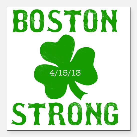 """Boston Strong - Green Square Car Magnet 3"""" x 3"""""""