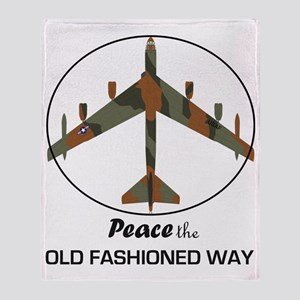 B-52 Stratofortress Peace the Old Fa Throw Blanket