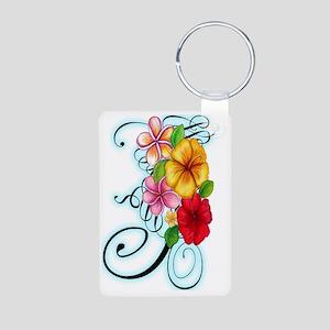 Flower Fusion Aluminum Photo Keychain