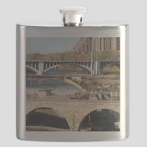 Minneapolis Mississippi Bridges Flask