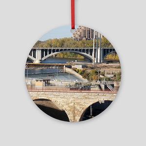 Minneapolis Mississippi Bridges Round Ornament
