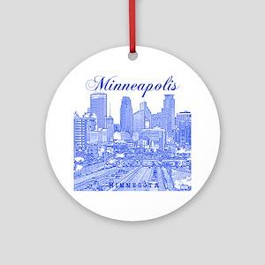 Minneapolis_10x10_Downtown_Blue Round Ornament