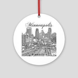 Minneapolis_10x10_Downtown_Black Round Ornament