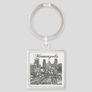 Minneapolis_10x10_Downtown_Black Square Keychain