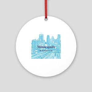 Minneapolis_10X10_v1_Downtown_Blue Round Ornament