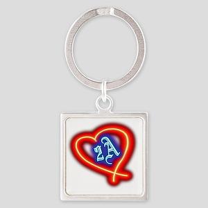 Second Amendment Love Square Keychain