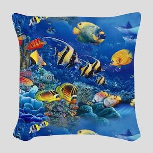 Tropical Fish Woven Throw Pillow