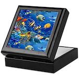 Tropical fish Square Keepsake Boxes