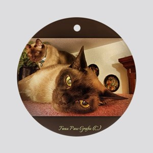 Burmese Cat portrait Round Ornament