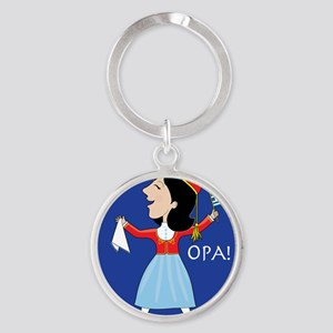 Greek Lady Dancing Round Keychain