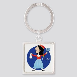 Greek Lady Dancing Square Keychain