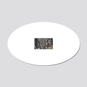 Snowy Lone Wolf 20x12 Oval Wall Decal