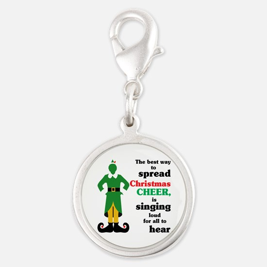 Christmas Cheer Singing Silver Round Charm
