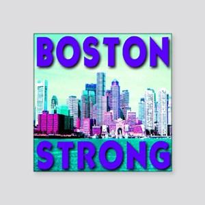 "Boston Strong Skyline Square Sticker 3"" x 3"""