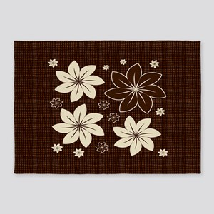 Brown floral design 5'x7'Area Rug