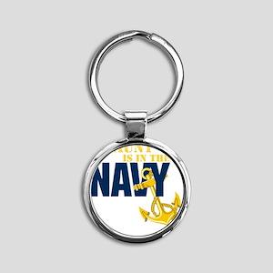 Navy Aunt Onsie Round Keychain