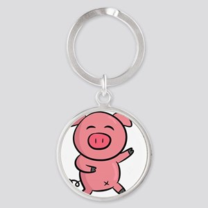 Cute and Happy Pink Piggy with Spar Round Keychain