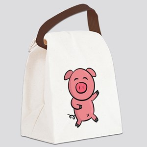 Cute and Happy Pink Piggy with Sp Canvas Lunch Bag