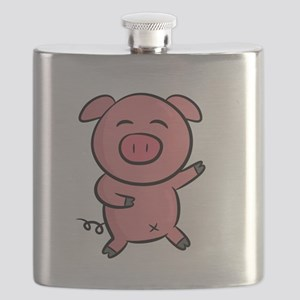 Cute and Happy Pink Piggy with Sparkles of L Flask