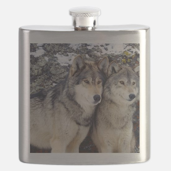 Wolf Couple Flask