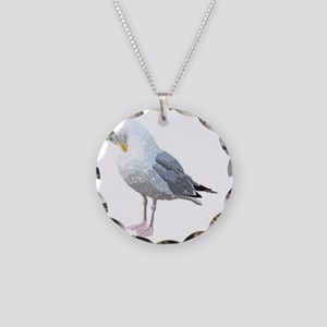 Preening Seagull Bird. Necklace Circle Charm