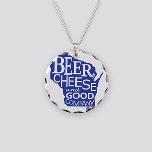 Blue & Gold Beer, Cheese & G Necklace Circle Charm