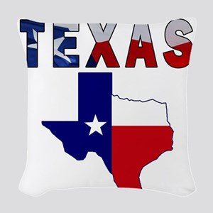 Flag Map With Texas Woven Throw Pillow