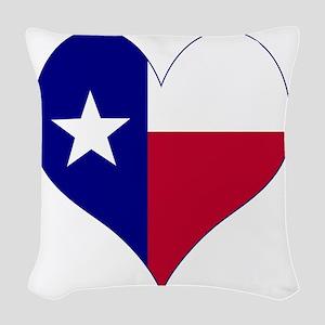 I Love Texas Flag Heart Woven Throw Pillow