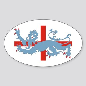 uk cross with lion Oval Sticker