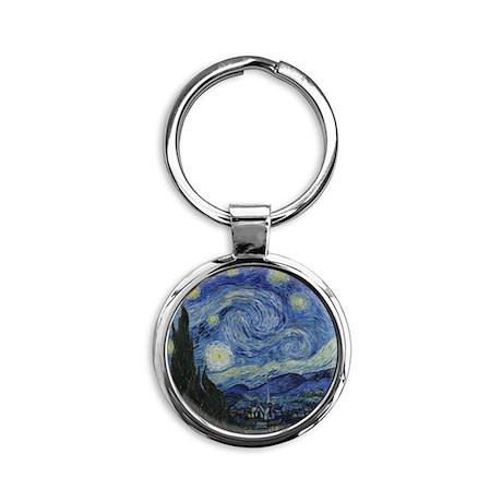 Vincent Van Gogh Starry Night Round Keychain
