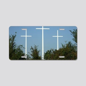 Crosses Aluminum License Plate