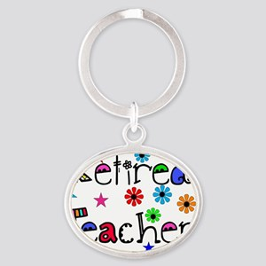 retired teacher stars flowers Oval Keychain