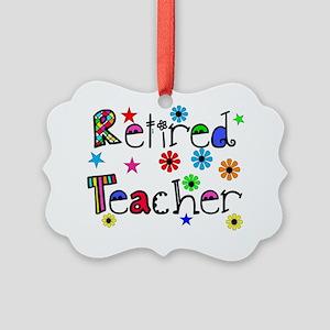 retired teacher stars flowers Picture Ornament