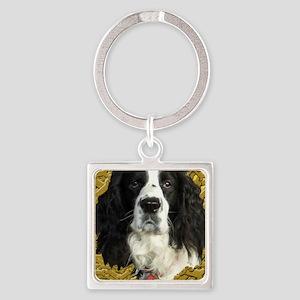 Springer Spaniel with dog bone bac Square Keychain