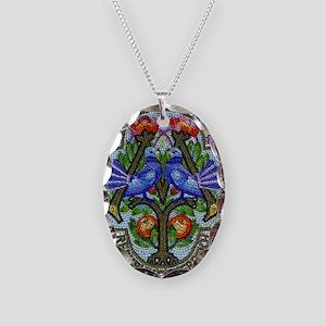 1996 Austria Birds Mosaic Post Necklace Oval Charm
