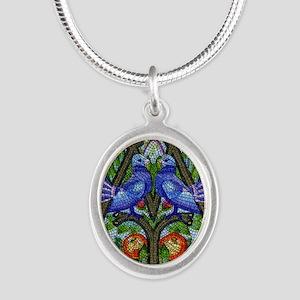 1996 Austria Birds Mosaic Pos Silver Oval Necklace