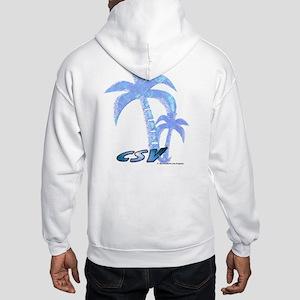 Blue Beach Palm Hooded Sweatshirt
