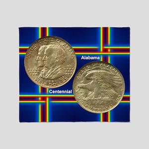 Alabama Centennial Half Dollar Coin  Throw Blanket
