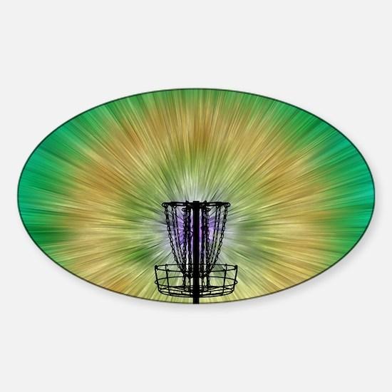 Tie Dye Disc Golf Basket Sticker (Oval)