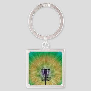 Tie Dye Disc Golf Basket Square Keychain