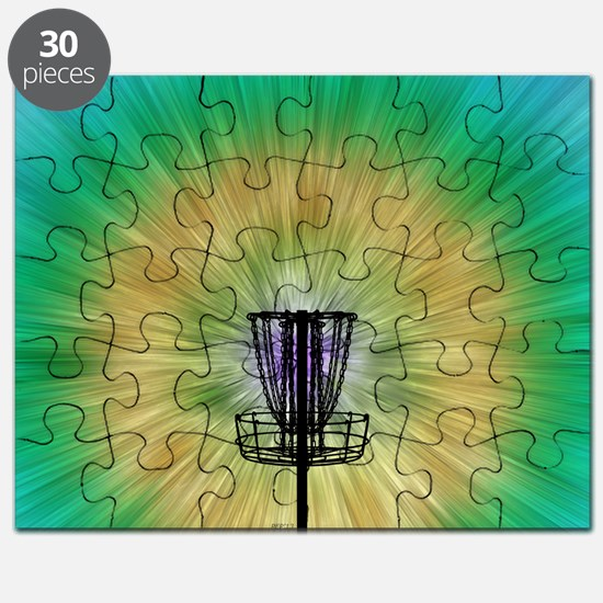 Tie Dye Disc Golf Basket Puzzle
