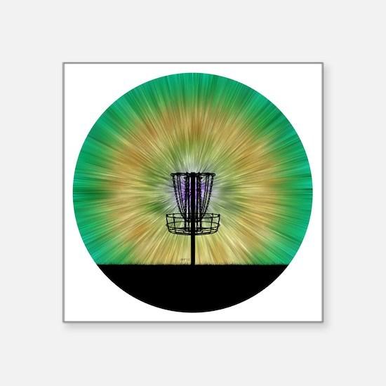 "Tie Dye Disc Golf Basket Square Sticker 3"" x 3"""