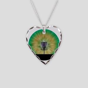 Tie Dye Disc Golf Basket Necklace Heart Charm