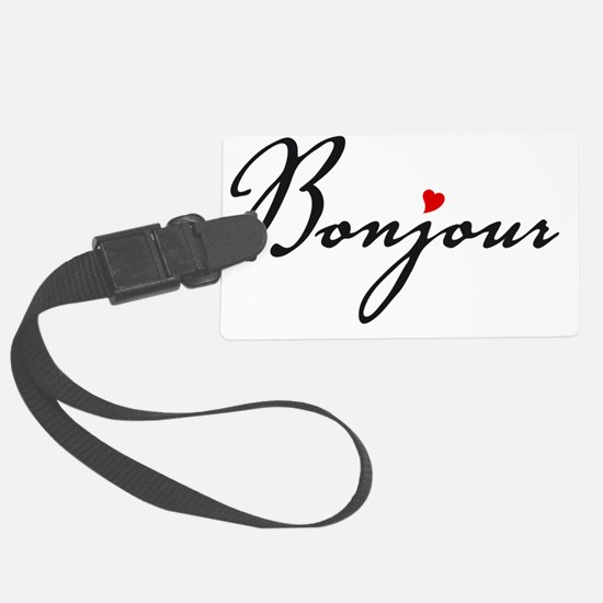 Bonjour with red heart Luggage Tag