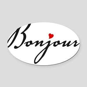 Bonjour with red heart Oval Car Magnet